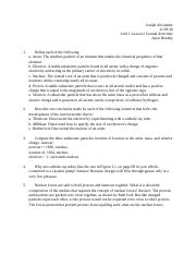 Unit 1 Lesson 2 Journal Activities Chemistry Honors