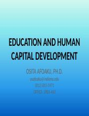 EDUCATION AND HUMAN CAPITAL DEVELOPMENT X 2t