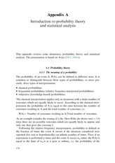 Appendix A; Introduction to Probability Theory and Statistical Analysis
