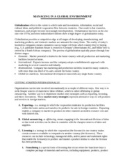 CHP 3 NOTES- GLOBAL MANAGEMENT