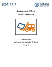 Logistics assignment
