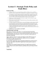 INTBUS 320 Strategic Trade Policy and Trade Blocs