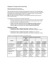 Sample Template - Compare and Contrast Essay