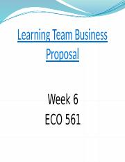 ECO 561 Week 6 Final Business Proposal