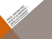 AAS Race, Racism and Health in America