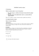 Apps Stat and Optimization Models Notes for Chapter 3 - Sensitivity Analysis