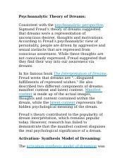 Psychoanalytic Theory of Dreams.docx