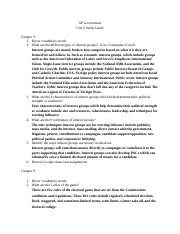 Unit 3 Study Guide AP Government
