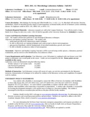 BIOL 201L-A1 Microbiology Laboratory Syllabus Fall 2013