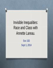 Lecture on Class and Race with Laureau.ppt