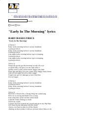 BABY BASH LYRICS - Early In The Morning.html