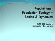 EVPP 110 Lecture - Populations - Population Ecology - Basics and Dynamics - Student - Summer 2015