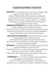 VARIOUS ENERGY SCIENCE