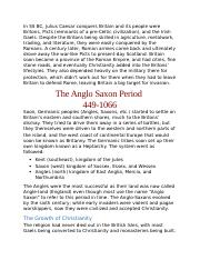 Anglo Saxon Periods