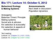 Biology 171 Lecture 14