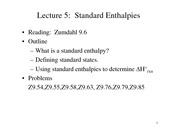 Lecture 5 on Standard Enthalpies