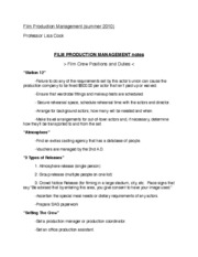 Film Crew Positions and Duties