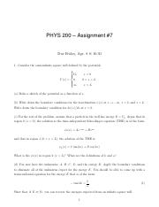 PHYS 200 Assign 7