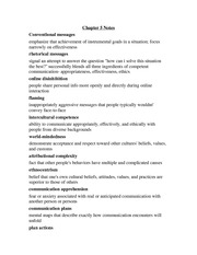 Interpersonal Communications Chapter 5 Notes