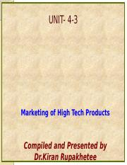 Unit 4-3-Marketing of Technology Products-Special Issue