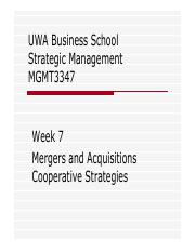 Week 7 Mergers  Acquisitions and Cooperative Strategies