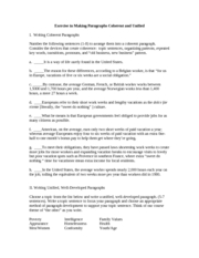 Paragraphs Exercise on Coherence and Unity