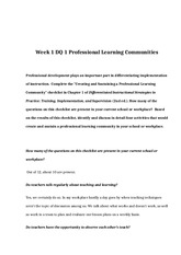 EDU 675 Week 1 DQ 1 Professional Learning Communities
