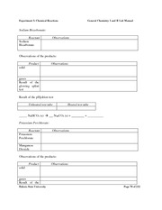 CHEM 1&2 Lab Manual & worksheets pg 69 - 6 H 12 O ...