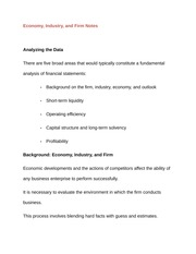 Economy Industry Firm Notes