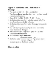 Types of Functions and Their Rates of Change Notes