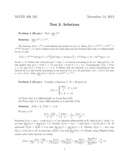 Exam 2 Solution on Advanced Calculus 1