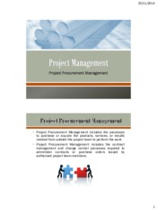 Lecture 13 Project Procurement Management for Project Management for Chemical Engineering