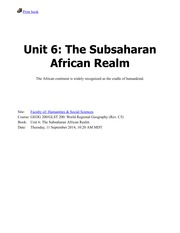 Unit 6-The Subsaharan African Realm