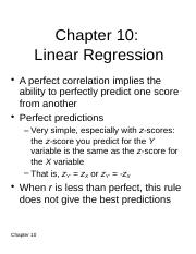 Chapter 10 - Linear Regression
