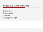 Persuasive Memo Workshop