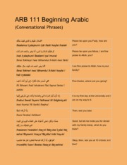ARB 111 Beginning Arabic (Vocab for Socializing)