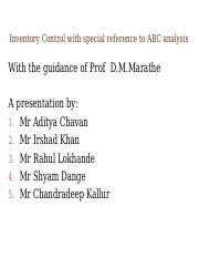 Inventory Control ABC Analysis