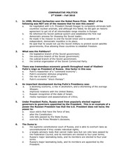 Sample Comparative Politics Exam 2 Fall 2010