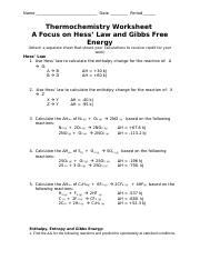 Thermochemistry ws - Name Date Period Thermochemistry Worksheet A ...
