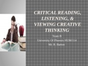 Critical Reading, Listening, & Viewing creative