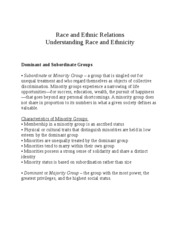 Race and Ethnic Relation1