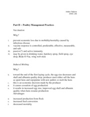 Part II -- Poultry Management Practices Notes
