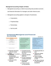 Managerial Accounting Chapter 14 Notes