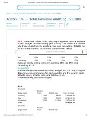 ACC560 E9-3 - Total Revenue Auditing 1600 $80.00 $128,000.00 Tax 2200 $90