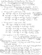 Acid-Base Equation Review Exam 3 09-106 F 09
