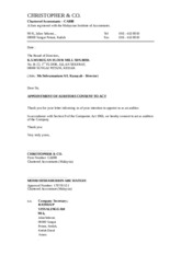 03 Appointment of Auditors