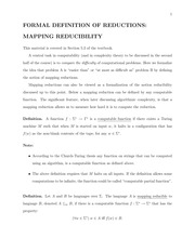 Lecture 4 Notes - Mapping Reducibility