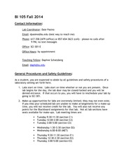 BI 105 Fall 2014 Contact Information and General Policies