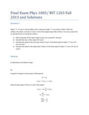 Final Exam Phys 1003 BIT 1203 F2013 Solutions