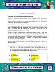Vip Evidencia 2 Describing And Comparing Products Docx